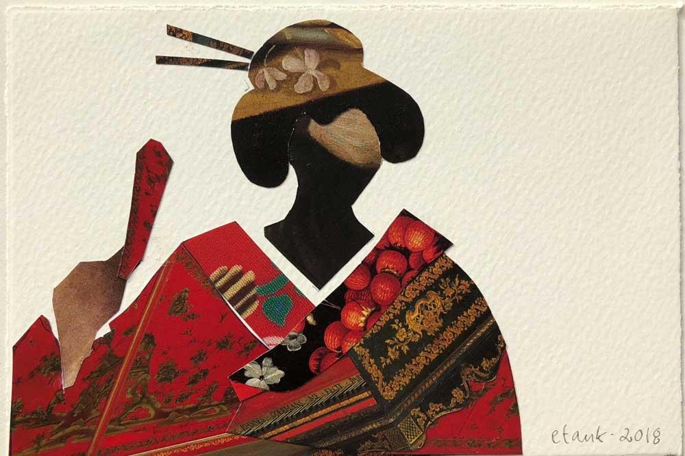 Geisha I Rød Kimono