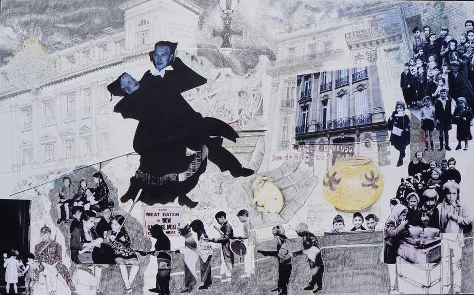 Collage Og Tegning I Sort Tusch Af Haren Med De Ravgule øjne Af Edmund De Waals Roman 'Haren Med De Ravgule øjne