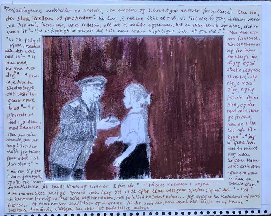 """""""Det Er Frygteligt At Erindre Det Hele, Men Endnu Frygteligere Ikke At Gøre Det"""". Citat, Som Del Af Tegning, Fra Bogen 'Krigen Har Ikke Et Kvindeligt Ansigt'. Tegn En Bog Eksempel"""