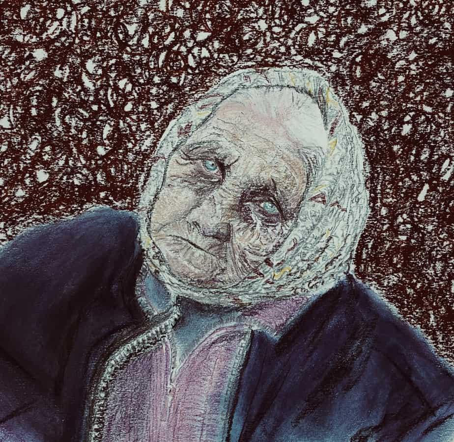 Tegning Af Russisk, Slidt Kone, Som Er En Af De Mange Stemmer I Svetlana Aleksijevitjs Gribende Fortælling 'Krigen Har Ikke Et Kvindeligt Ansigt. Tegn En Bog Eksempel