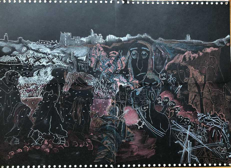 Fra Slagmarken I Den Russiske Vinter Tegning Inspireret Af Scene I Svetlana Aleksijevitjs Gribende Fortælling 'Krigen Har Ikke Et Kvindeligt Ansigt. Tegn En Bog Eksempel