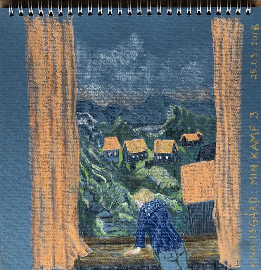 Tegning Af Dreng, Der Kigger Ud Af Vinduet, Ud På Det Norske Landskab. Tegning På Blåt Papir Af Karl Ove Knausgårds 'Min Kamp'' Bind 2 - Tegn En Bog