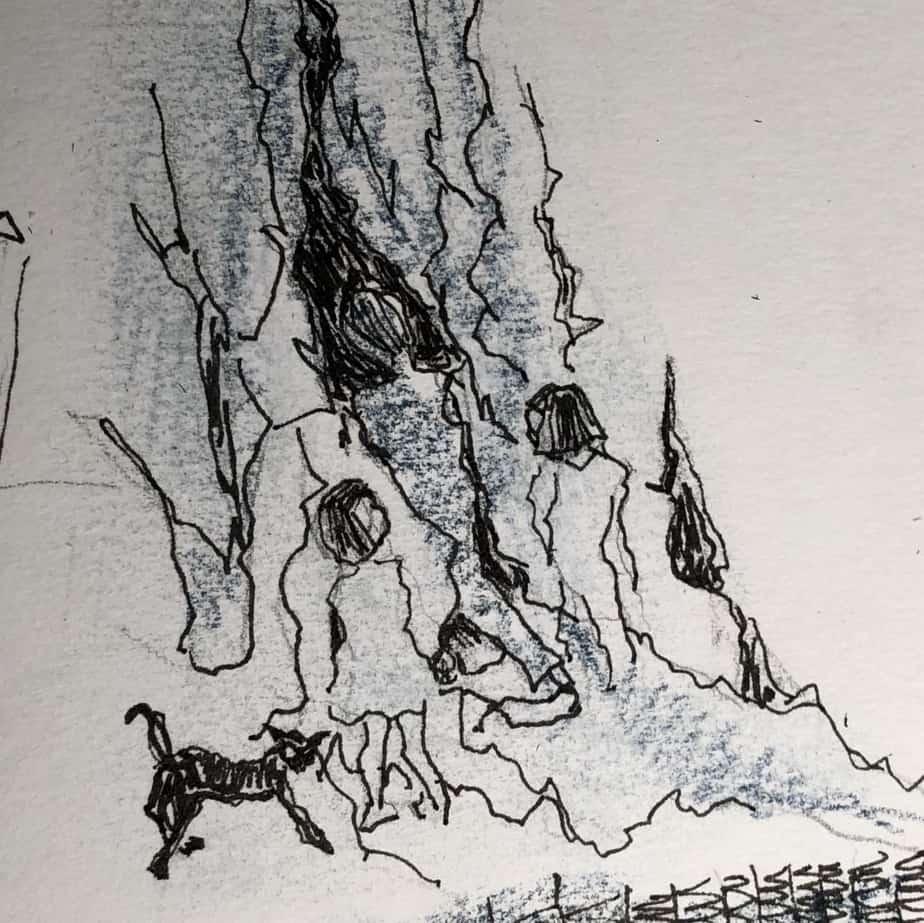 Tusch Tegning, Tegnet Efter Læsening Af Romanen Mordet På Kommandanten