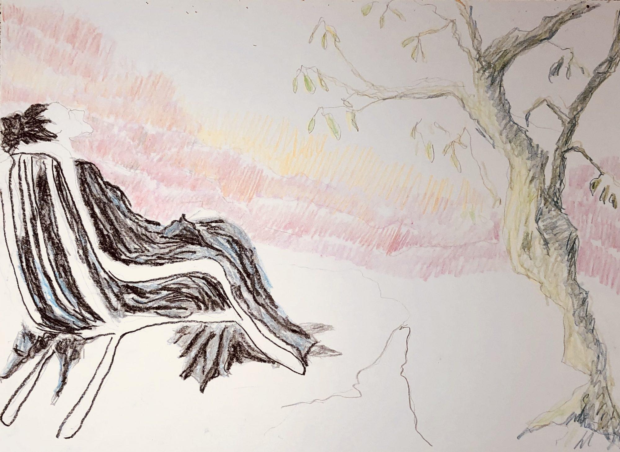 Tegning Af Farrowhlaqa, En Af Fem Centrale Kvinder I Bogen 'Kvinder Uden Mænd'