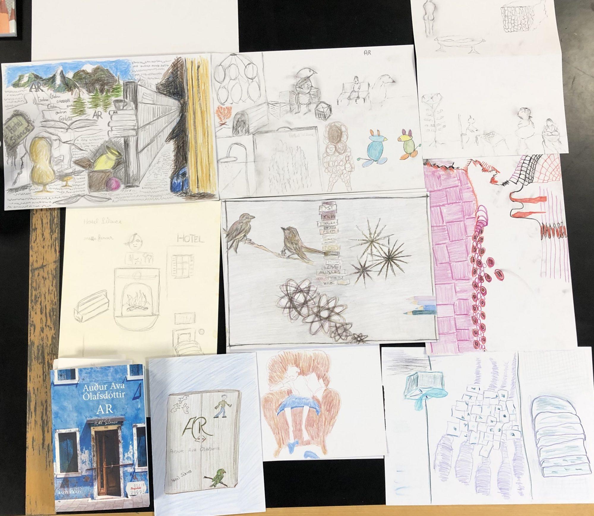 Tegninger fra Tegn en bog workshop på Farum Bibliotek 23. november