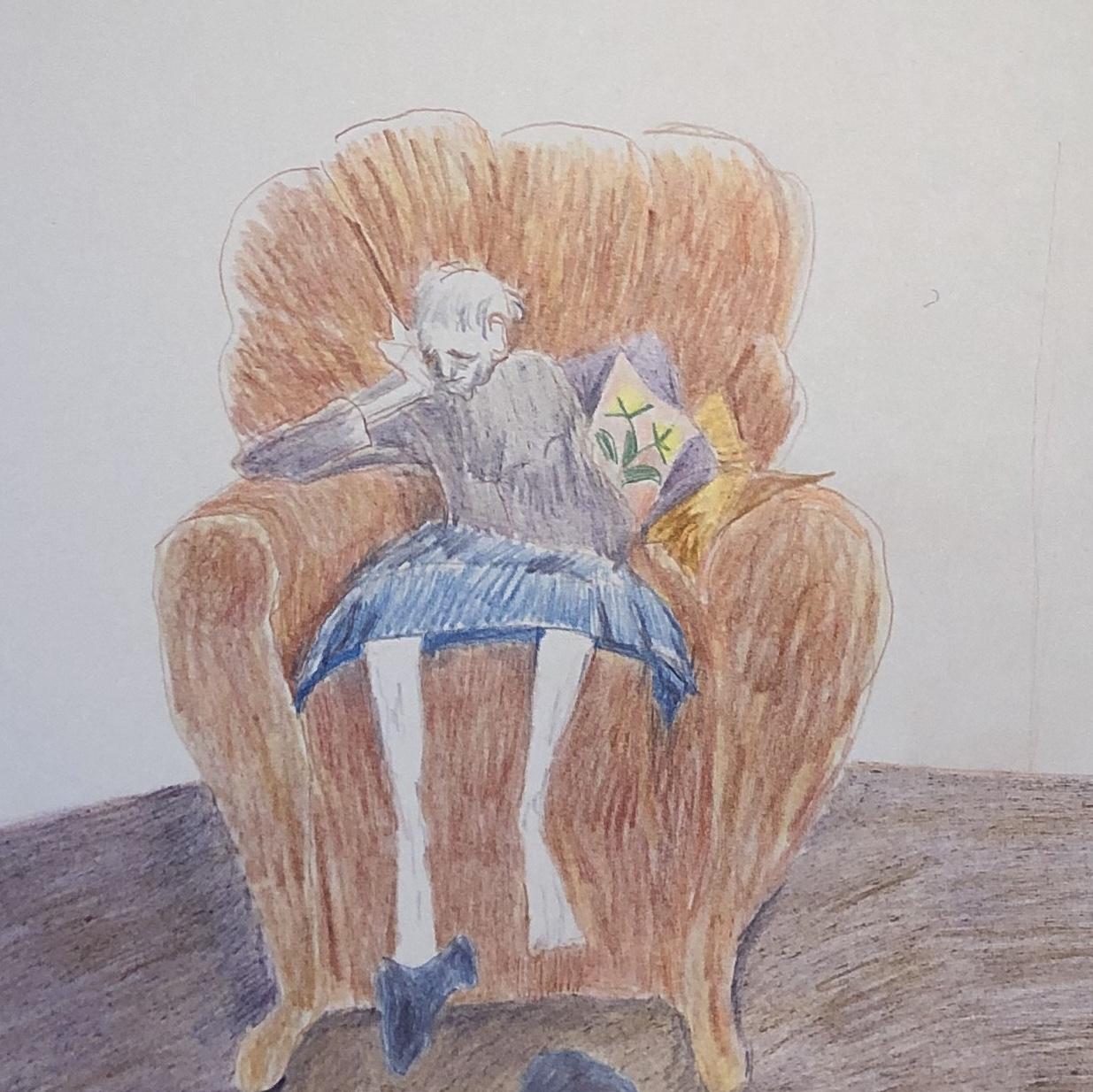 Tegning Fra Fra Romanen 'Ar' Af Audur Ava Olafsdottir, Udgivet På Dansk I 2018. Gudrun Sidder I En Lænestol På Plejehjemmet