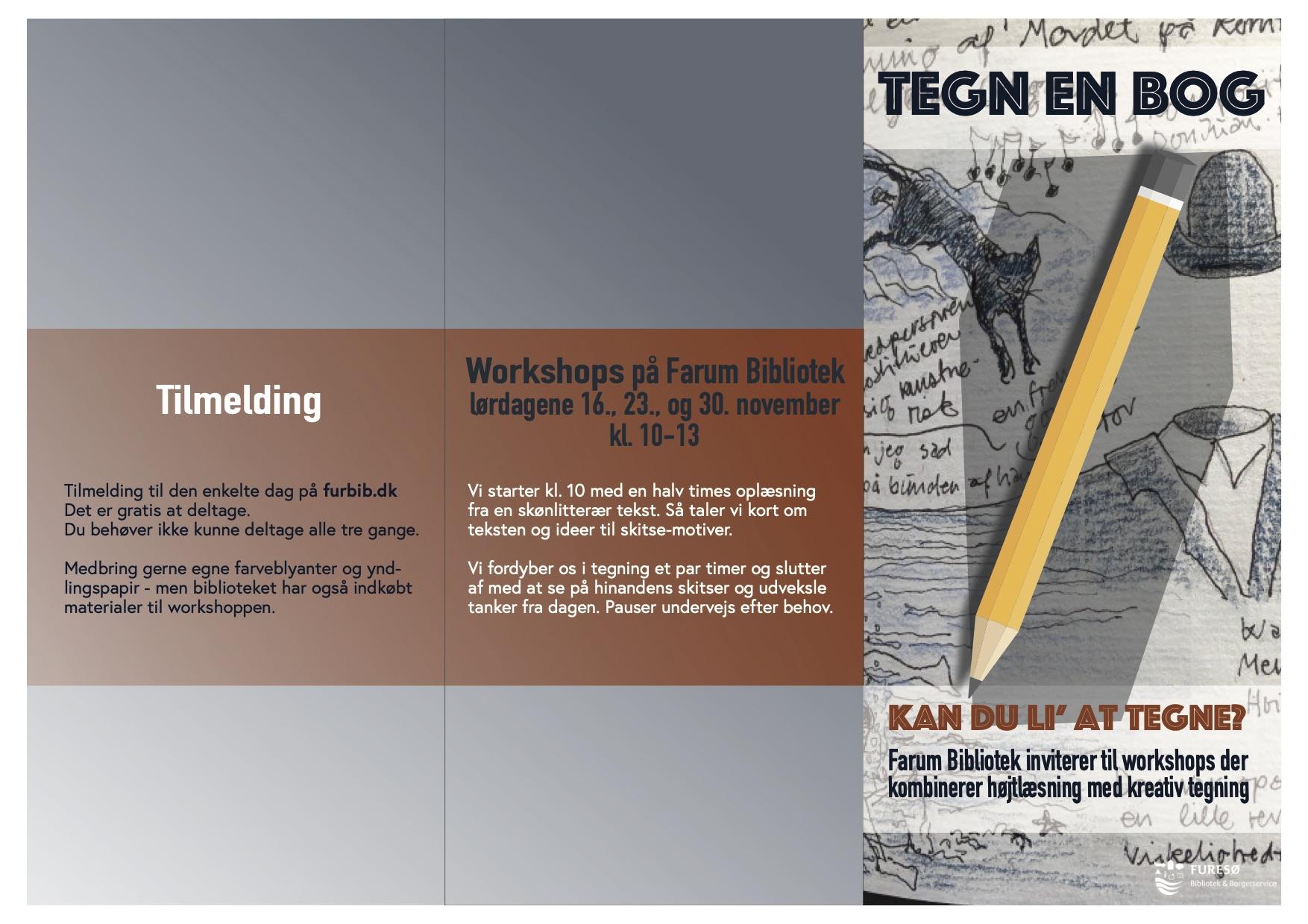 Tegn en bog Program for 3 workshops på biblioteket i Farum i november 2019