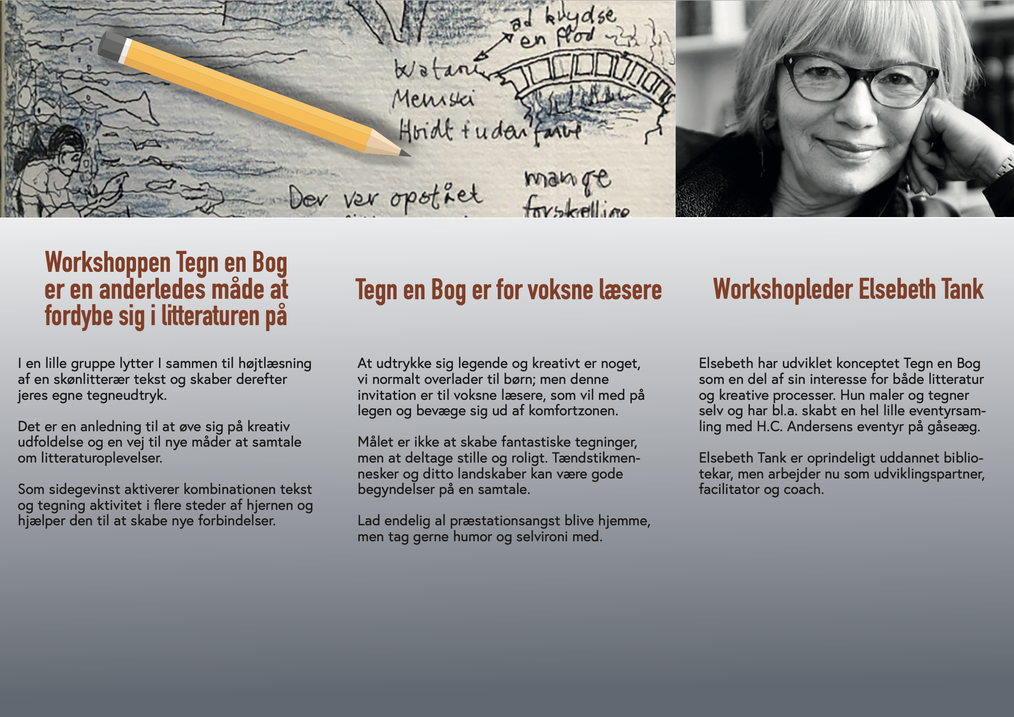 Fra program for tegn en bog workshops i Farum i november