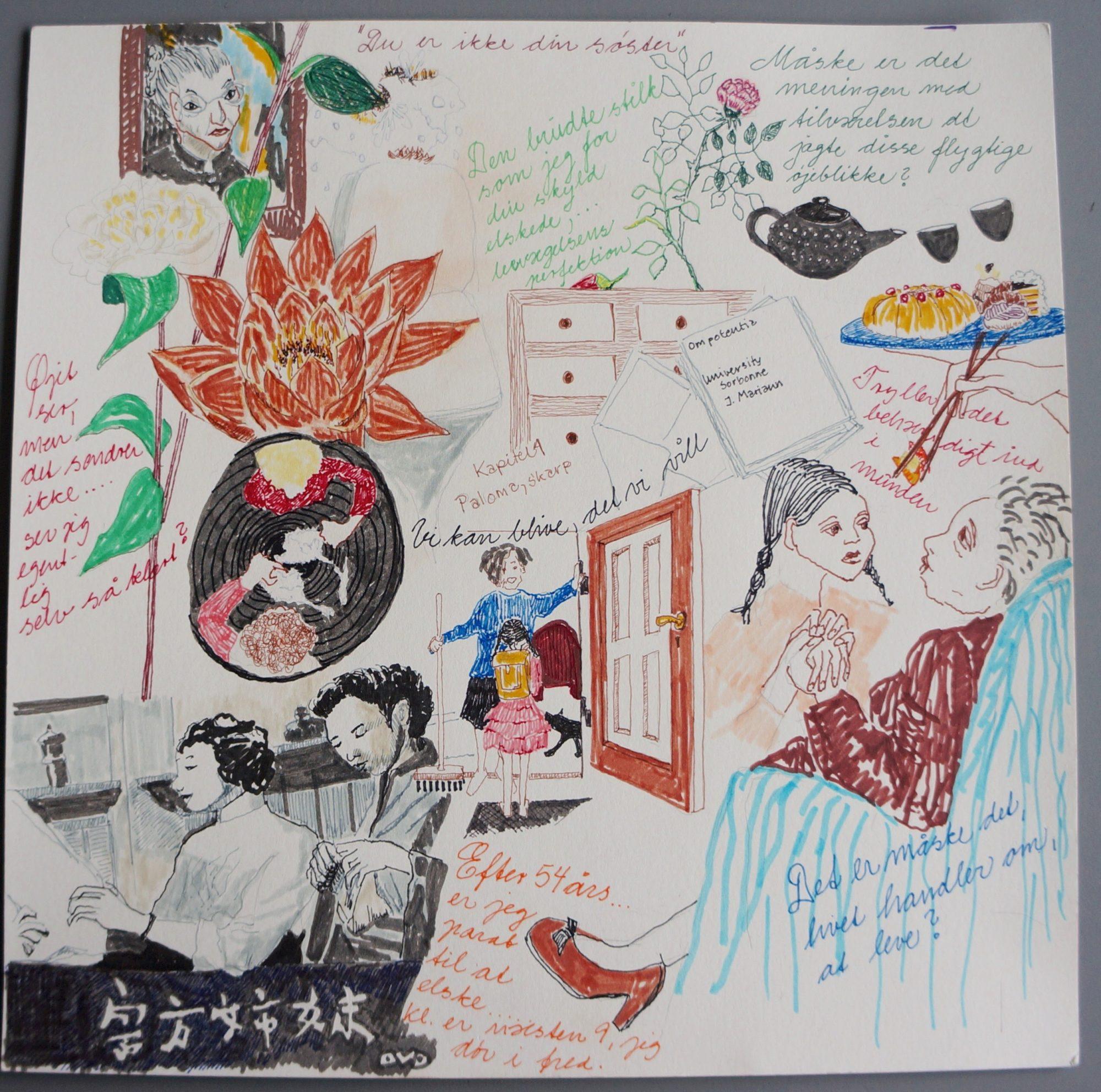 Tegning Til Romanen Pindsvinets Elegance Skrevet Af Muriel Barbery