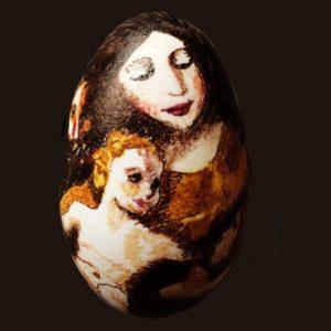 miniaturemaleri på gåseæg, motiv inspireret af Sagrada Familia, malet af Goya