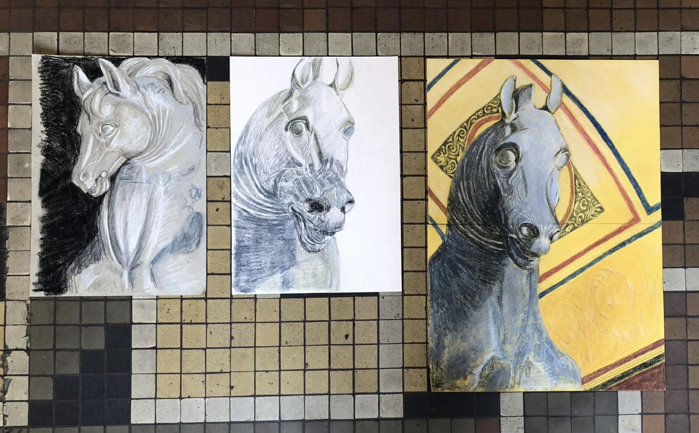 Tre Tegninger Af Hestehoved Fra Skulptur Af Bertel Thorvaldsen