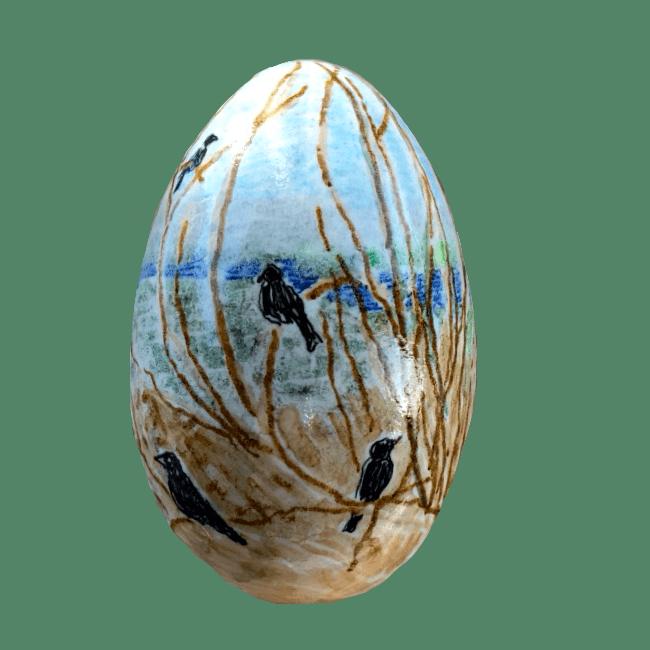 Fugle I Pilegrene På Bemalet Gåseæg
