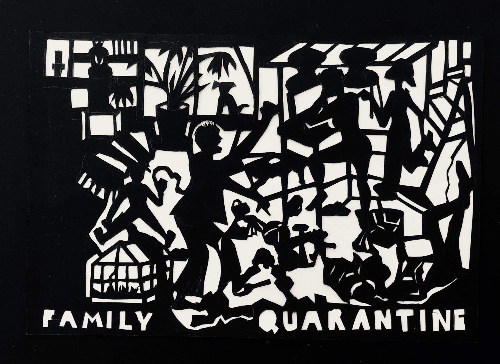 'Family Quarantine', Et Papirklip I Sort Papir. Del Af Serien, Coronabreve 2020