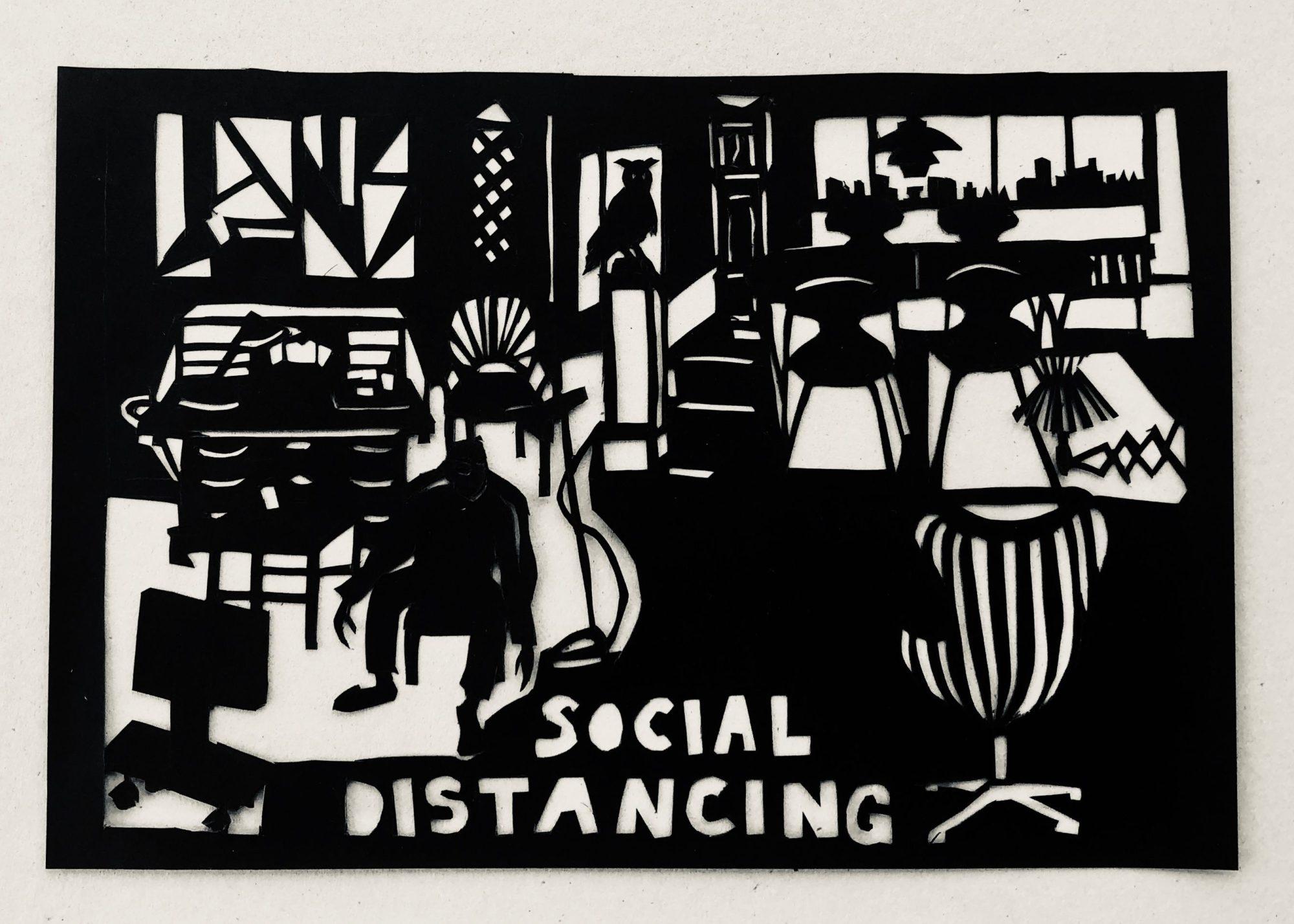 'Social Distancing', Er Et Papirklip I Sort Papir. Del Af Serien, Coronabreve 2020