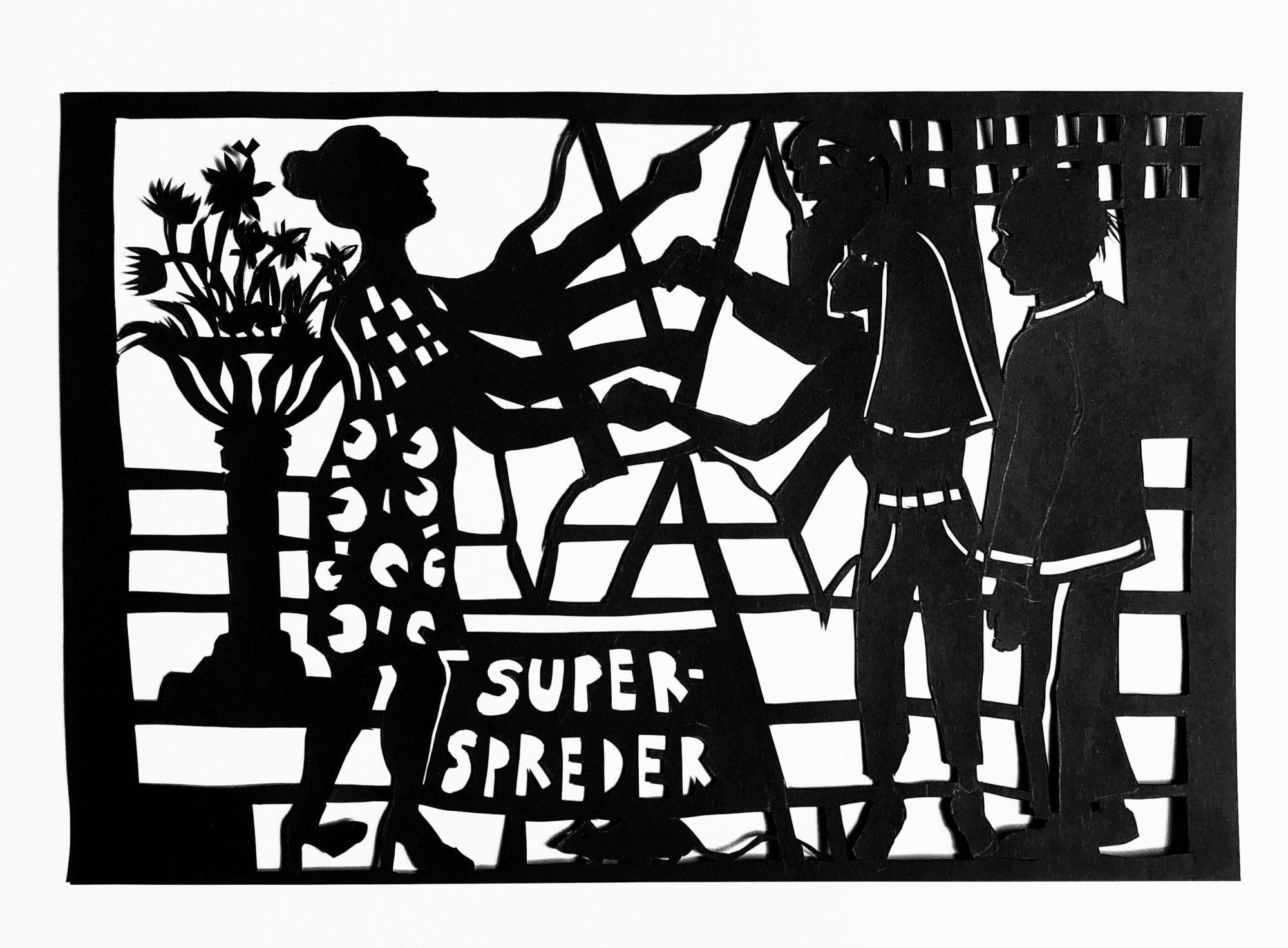 'Superspreder', Et Papirklip I Sort Papir. Del Af Serien, Coronabreve 2020