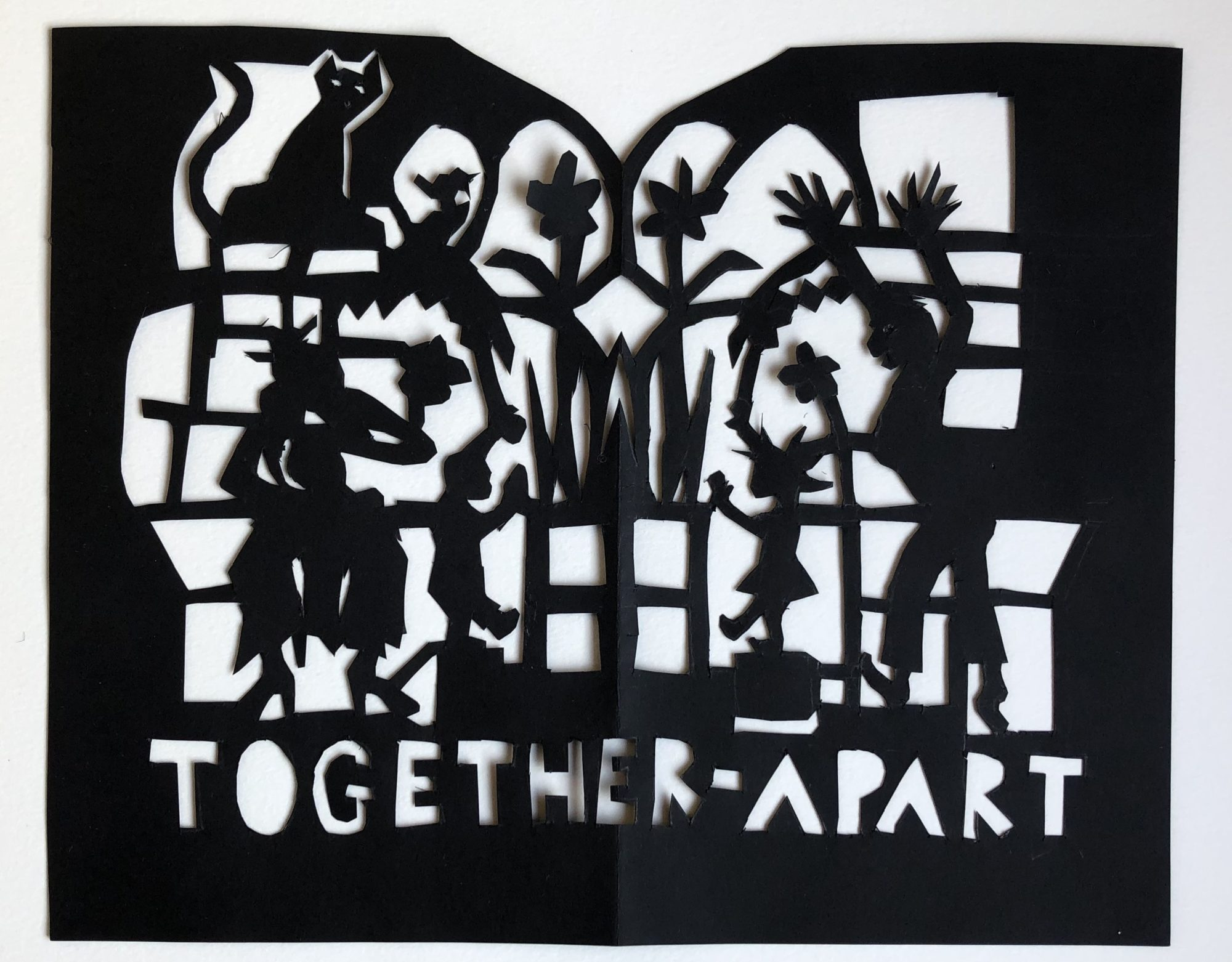 'Together Apart' 'Together Apart', Et Papirklip I Sort Papir. Del Af Serien, Coronabreve 2020