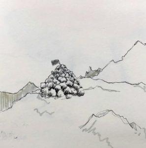 Tegning af en varde, inspireret af læsning om Den litterære Grønlandsekspedition