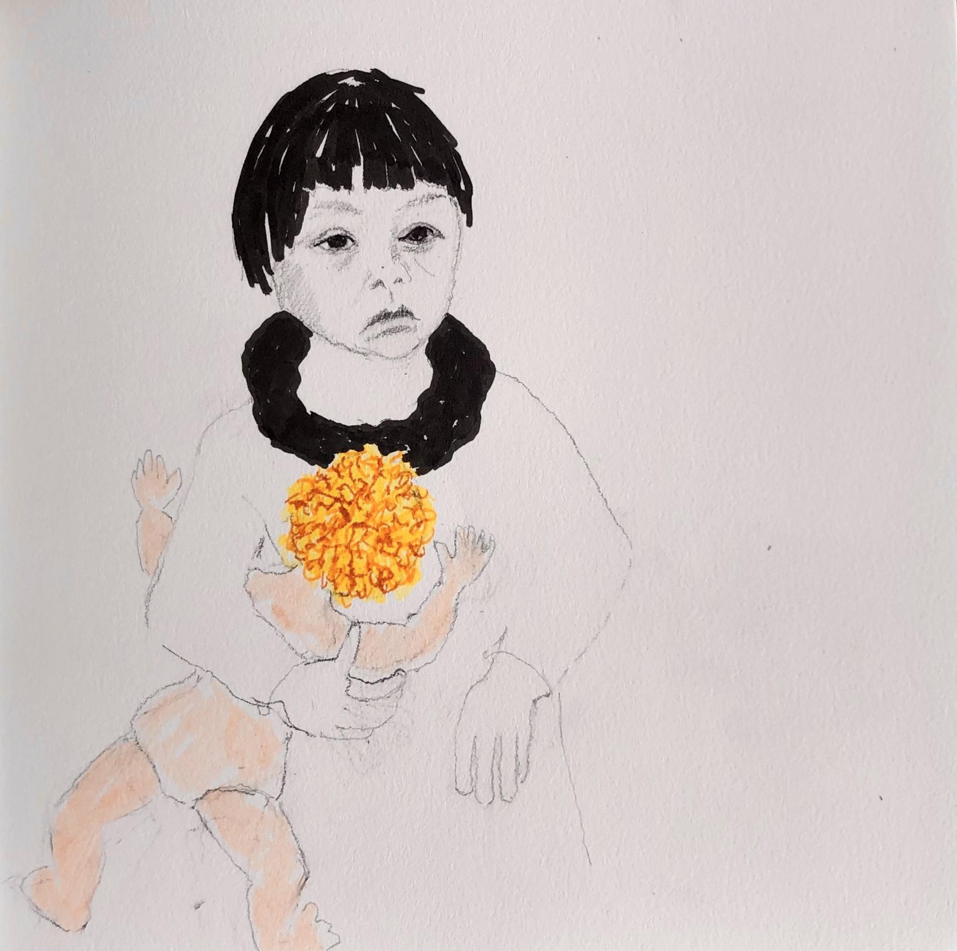 Tegning Af Grønlandsk Pige Med Dansk Dukke, Inspireret Af Bogen Tabita, Skrevet Af Iben Mondrup