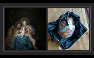 Billed af Goyas maleri 'Sagrada Familia sat sammen med miniaturemaleri af motivet