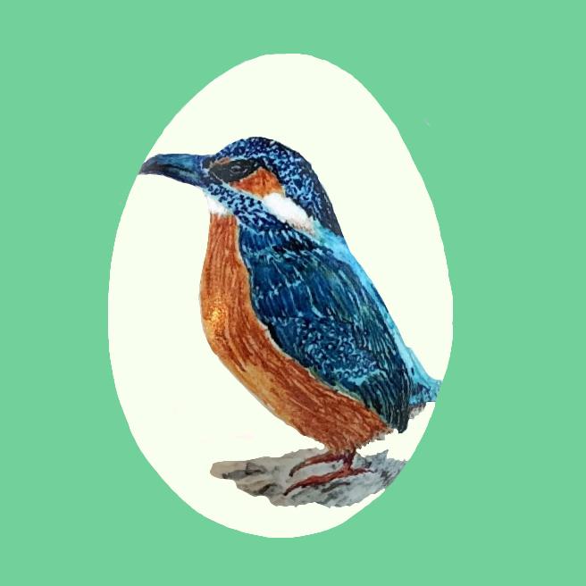 Isfugl malet med tusch på gåseæg