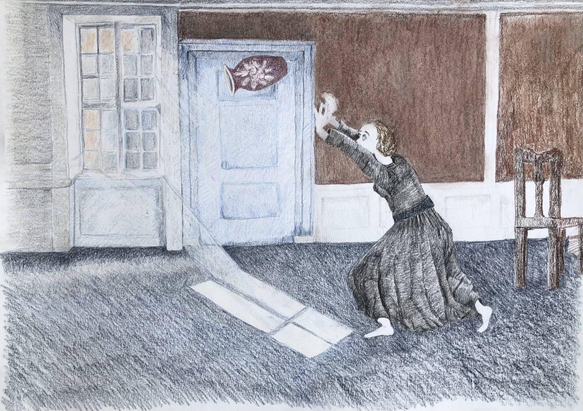 """Tegning Inspireret Af Romanen """"Kvinde Set Fra Ryggen"""", Af Forfatter Jesper Wung Sung"""