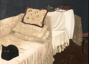 Interiør med kat - malet af Karin Mamma Andersson