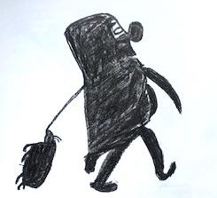 Åndemaneren Anarqaoq Udtrykker Sine Tegninger Med Selvportræt Tegnet Med Blyant